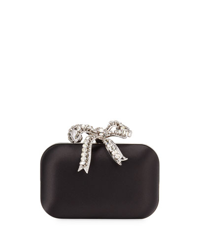 Cloud Satin Crystal Bow Clutch Bag