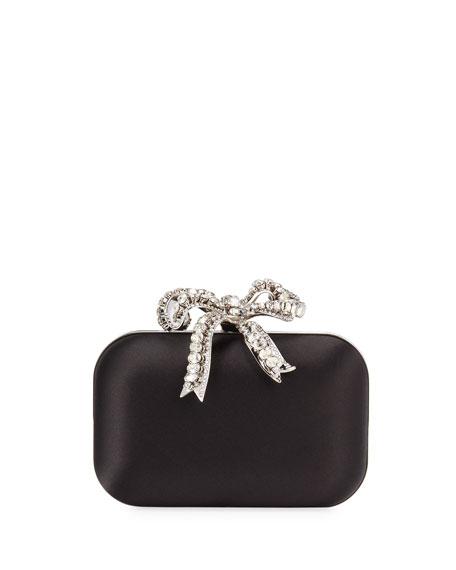 Jimmy Choo Cloud Satin Crystal Bow Clutch Bag