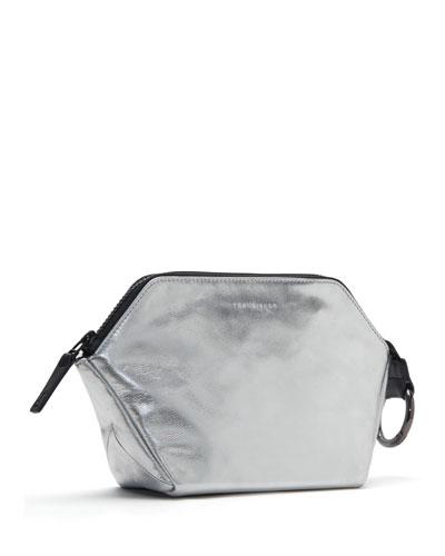 Zip-Top Metallic Leather Cosmetics Bag