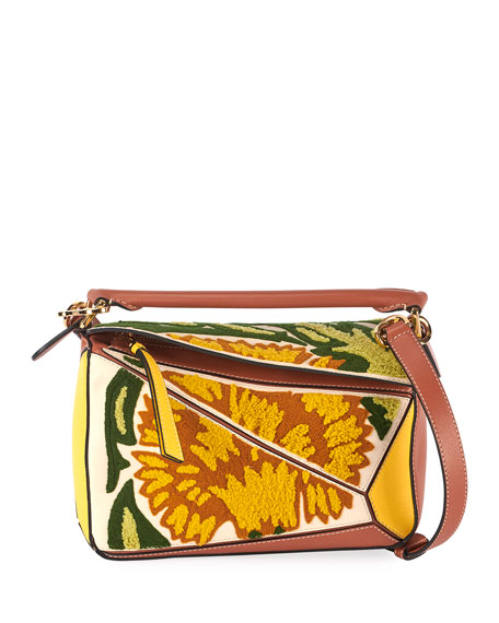 Loewe Puzzle Embroidered Floral Leather Satchel Bag