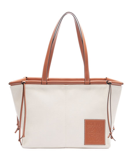 Loewe Cushion Canvas Tote Bag, Beige