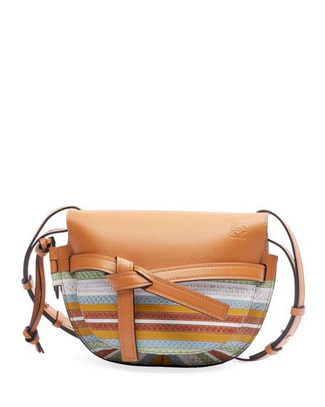 Loewe Gate Striped Snake-Print Leather Shoulder Bag