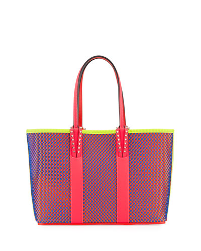 Cabata Small Neo Resille Fluo Matte Mesh & Leather Tote Bag