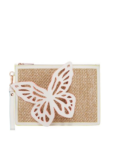 Flossy Butterfly Embellished Woven Leather Pochette Clutch Bag