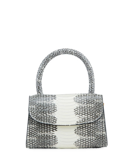 BY FAR Mini Snake Print Top Handle Bag