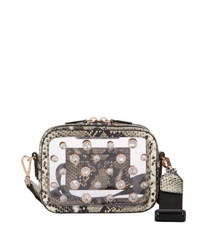 Dina See-Through Camera Bag with Snake-Print Trim