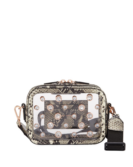 Sophia Webster Dina See-Through Camera Bag with Snake-Print Trim