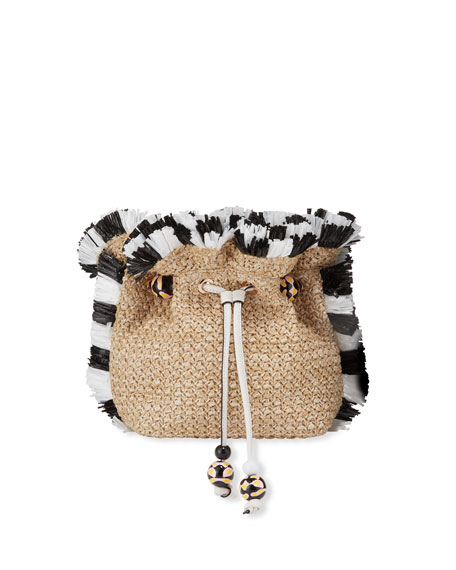 Sophia Webster Emmie Raffia Shoulder Bag with Bicolor Fringe