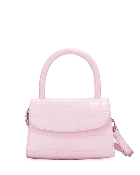 BY FAR Mini Crocodile-Embossed Top-Handle Bag
