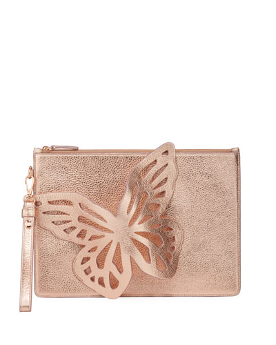 Flossy Butterfly Embellished Metallic Leather Pochette Clutch Bag