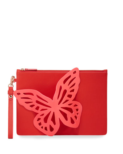 Flossy Butterfly Embellished Leather Pochette Clutch Bag