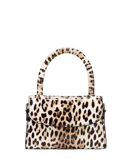 BY FAR Mini Leopard-Print Leather Top-Handle Bag