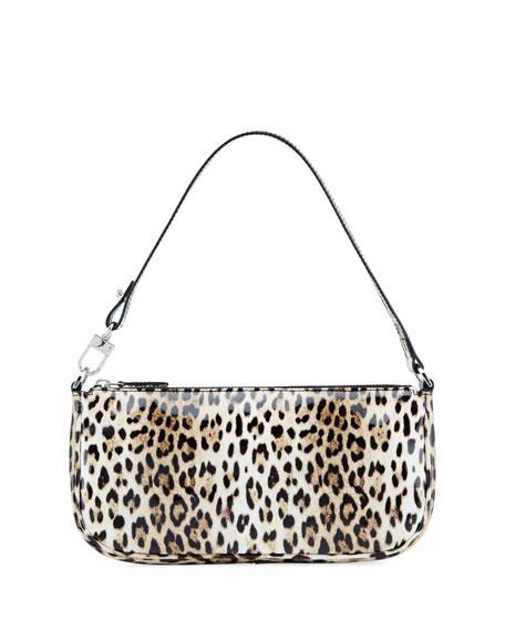 BY FAR Rachel Patent Leopard Shoulder Bag