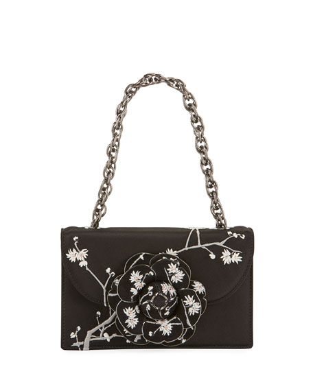 Oscar de la Renta Tro Flower Embroidered Satin Crossbody Bag