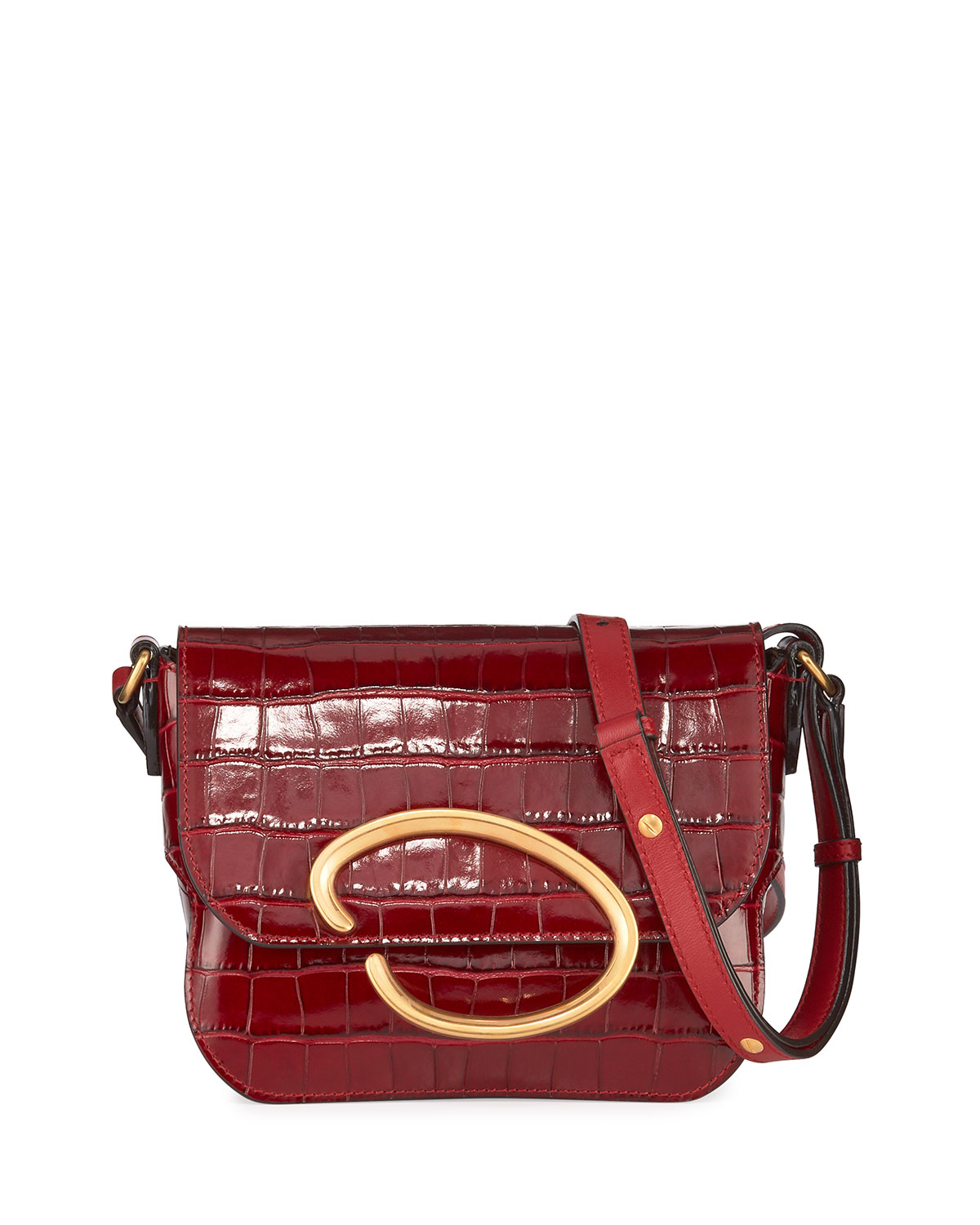 Oscar De La Renta Shoulder OATH MOCK-CROC LEATHER SHOULDER BAG