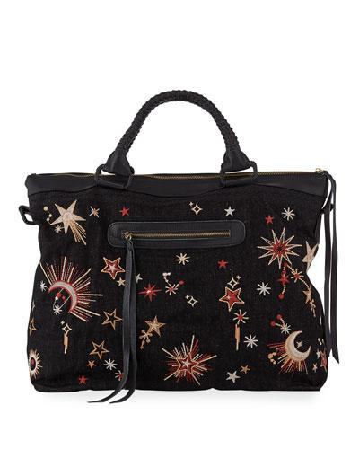 Telesto Celestial Embroidered Overnight Tote Bag