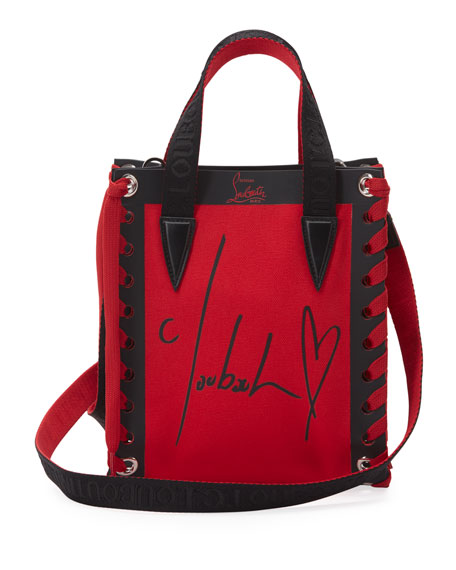 Christian Louboutin Cabalace Mini Canvas Signature Print Tote Bag