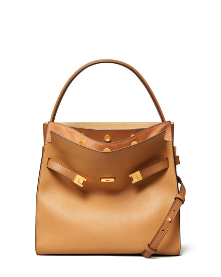 Tory Burch Lee Radziwill Double Crossbody Bag, Light Brown