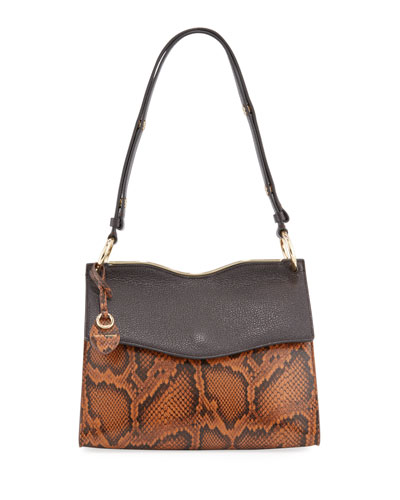 Dani Snake-Embossed Leather Shoulder Bag