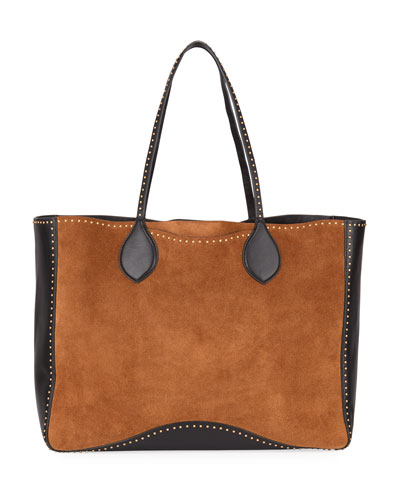 Pippa Studded Two-Tone Tote Bag