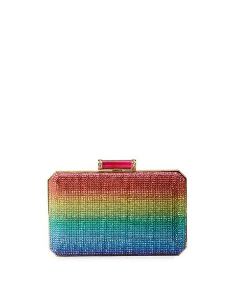 Judith Leiber Couture Soho Rainbow Crystal Clutch Bag