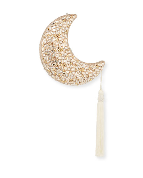 Judith Leiber Couture Crescent Moon Polaris Crystal Clutch Bag