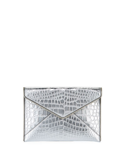 Leo Leather Clutch Bag - Silver Hardware