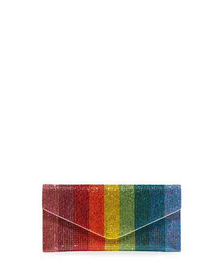 Judith Leiber Couture Envelope Beaded Rainbow Clutch Bag
