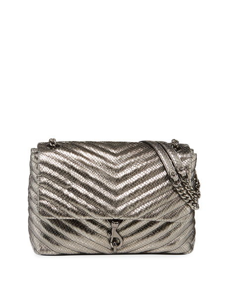 Rebecca Minkoff Edie Metallic Leather Flap Shoulder Bag