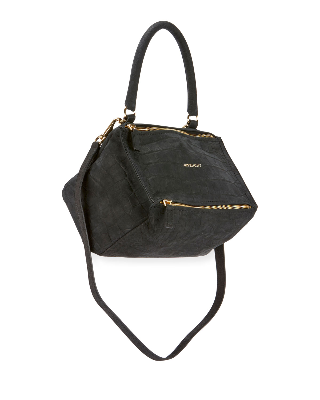 Givenchy Bags PANDORA SMALL MOCK-CROC NUBUCK SATCHEL BAG