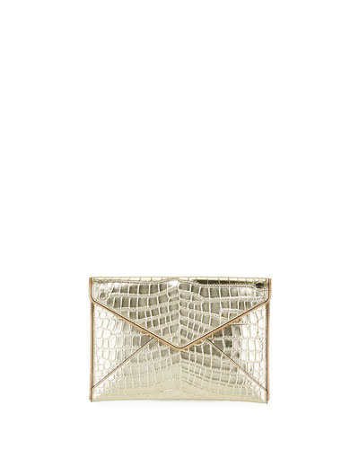 Leo Leather Clutch Bag - Light Gold Hardware