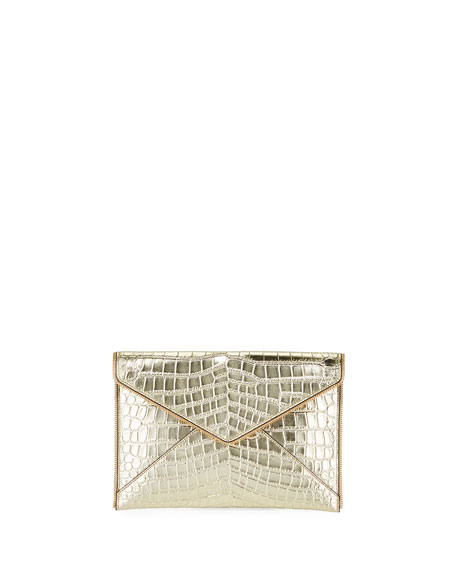 Rebecca Minkoff Leo Leather Clutch Bag - Light Gold Hardware