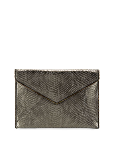 Leo Snake-Print Leather Clutch Bag