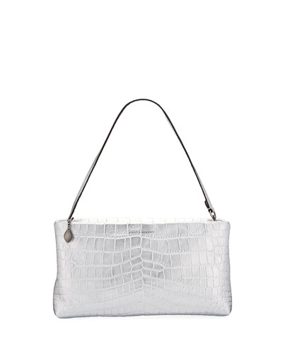 Metallic Mock-Croc Leather Zip Clutch Bag