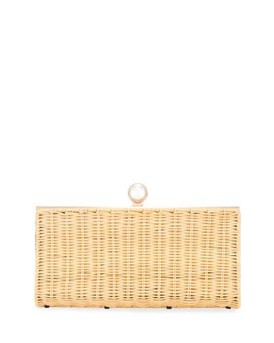 The Pearl Woven Rattan Clutch Bag