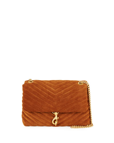 Edie Quilted Suede Shoulder Bag