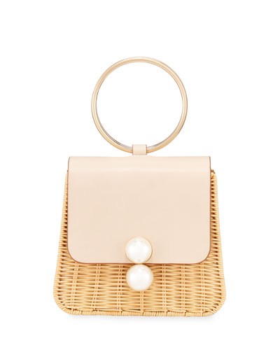 The Edie Ring Woven Top Handle Bag