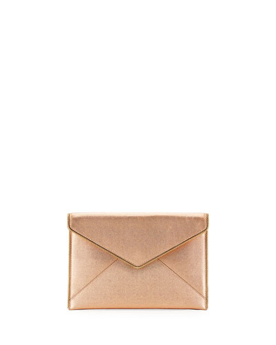 Leo Metallic Leather Clutch Bag