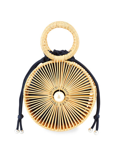 The Marguerite Round Rattan Ring Handle Bag
