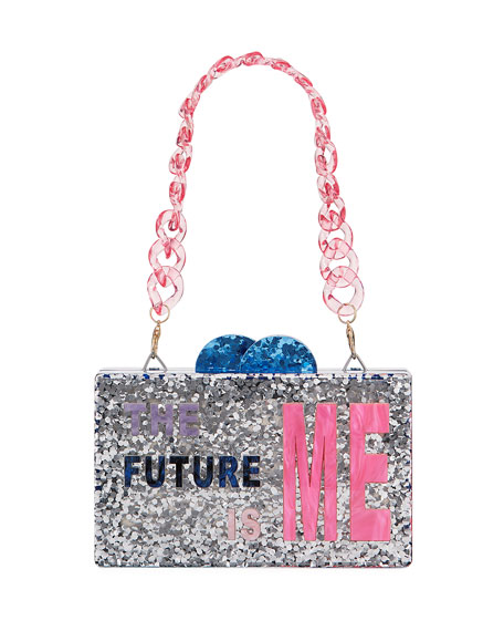 Bari Lynn Girl's The Future Is Me Acrylic Box Clutch Bag