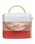 Chloe Aby Lock Lizard-Embossed Shoulder Bag