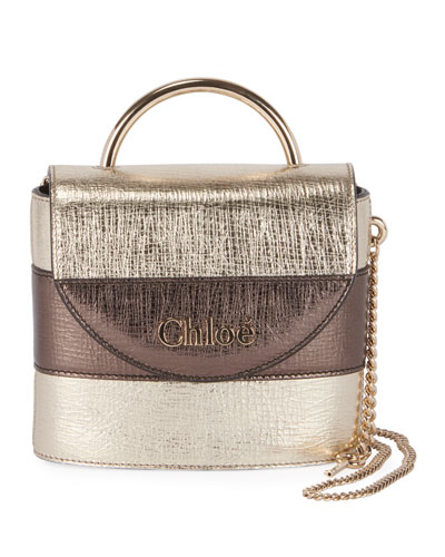 Aby Lock Lizard-Embossed Top-Handle Bag