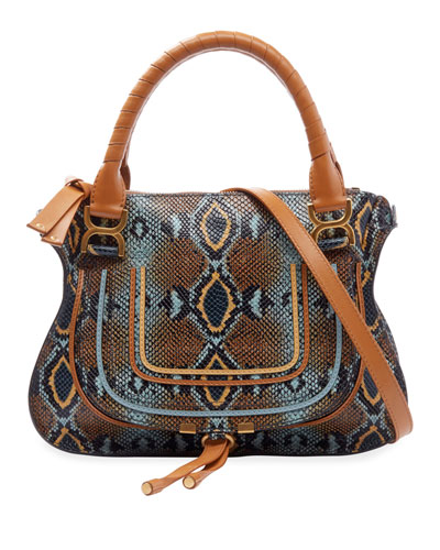 Marcie Medium Python-Print Double Carry Shoulder Bag