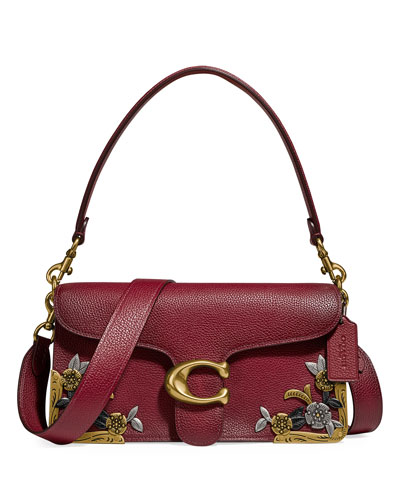 Metal Tea Rose Leather Shoulder Bag