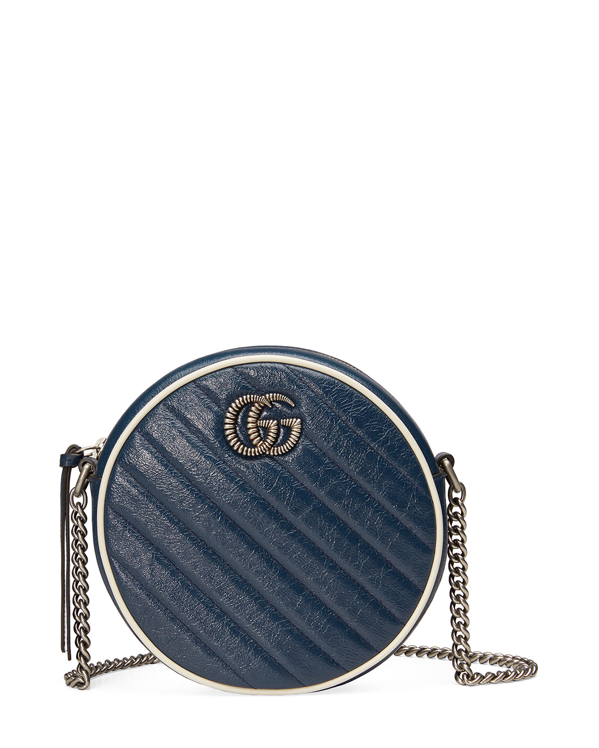 Gucci Crossbody GG MARMONT MINI ROUND TORCHON LEATHER CROSSBODY BAG
