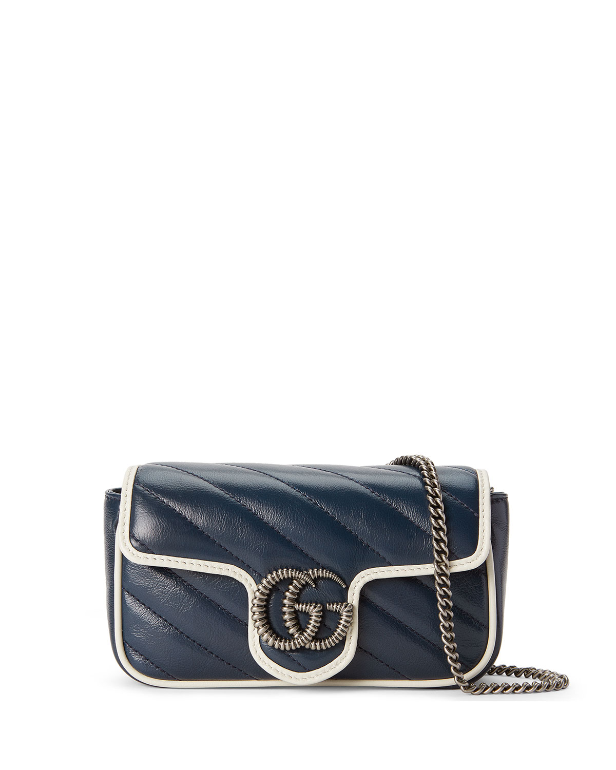 Gucci Crossbody GG MARMONT TORCHON SUPER MINI CROSSBODY BAG - SILVER HARDWARE