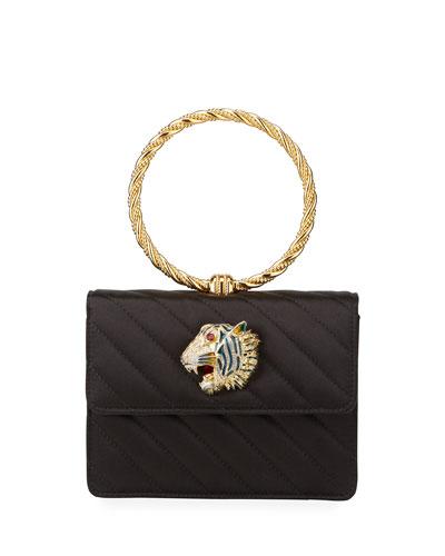 Broadway Satin Loop Top-Handle Bag With Tiger Head
