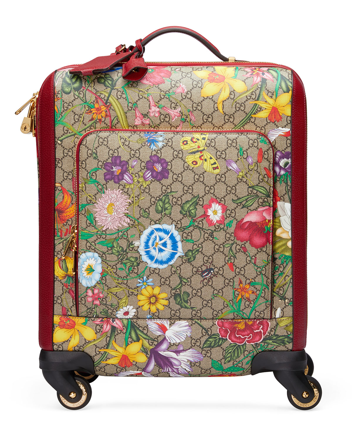 Gucci Bags GG SUPREME FLORA CARRY-ON TROLLEY SUITCASE LUGGAGE