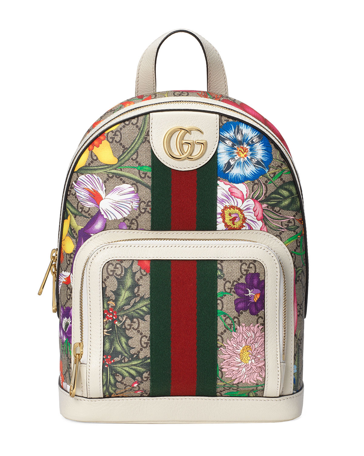 Gucci Backpacks OPHIDIA SMALL GG SUPREME FLORA BACKPACK