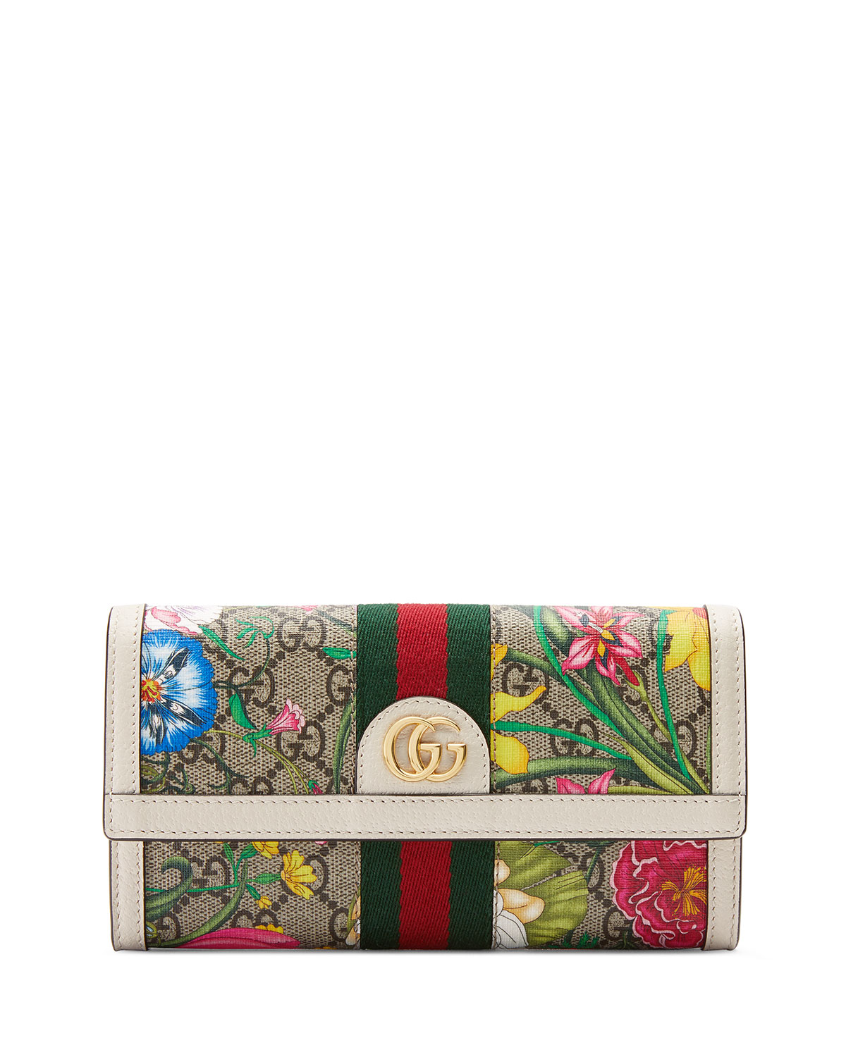 Gucci Wallets OPHIDIA GG FLORA FLAP CONTINENTAL WALLET